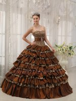Natural Waist Leopard/Brown Taffeta Interphase Layers Adult Ceremony Ball Gown