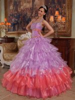 Lilac/Watermelon Layers A-line Fashion Halter Quinceanera Dress Enchanting