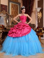 New Fashion Oblique Fuchsia Piece Quinceanera Prom Ball Gown Flat Aqua Blue Tulle