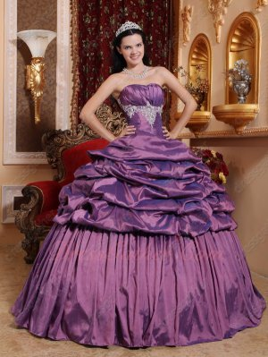 Classic Strapless Puffy Plum Purple Quinceanera Gown Half Bubble Half Flat Bottom