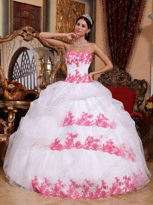Pretty White Organza Cakes Quince Birthday Party Gown With Coral Red Applique/Lacing