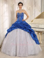 Flat Silver Organza With Royal Blue Taffeta Open Bubble Overlay Quinceanera Dress