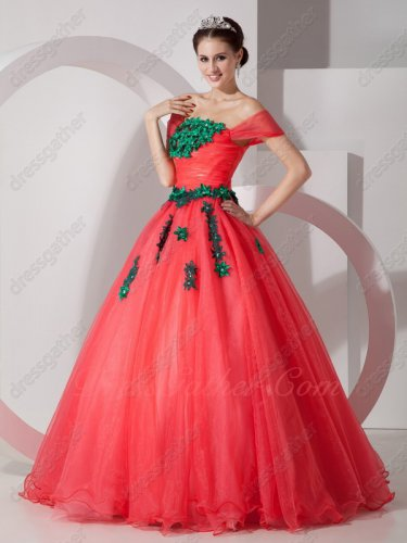 Off Shoulder Coral Red Organa Current Prom Ball Gown With Green Applique