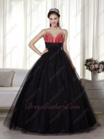Promotion Black and Red Evening Celebrity Military Ball Gown With Slip