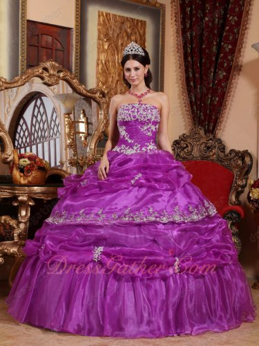 Strapless Bright Purple Organza Fluffy Cake Military Evening Ceremony Ball Gown