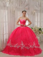 Fit and Flare Deep Coral Red Crossed Layers Back Quinceanera Dress Off-White Applique