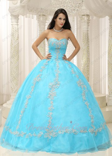 Floor Length Plain Aqua Mesh/Gauze Fluffy Quinceanera Ball Gown Silver Applique