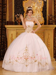 Fitted Ancient Palace Puffy Layers Mesh White Military Ball Dress With Gold Embroidery