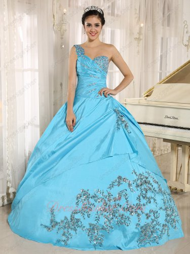 Shiny Applique/Oblique Overlay Flat Formal Ceremony Ball Gown Aqua Blue Taffeta