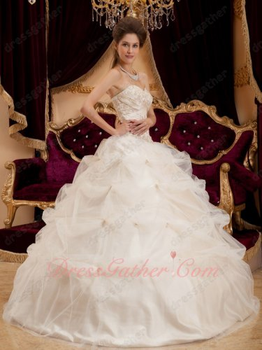 Ivory Mesh Pick-up Bubble V-Shaped Waistline Quinceanera Gown as Gift