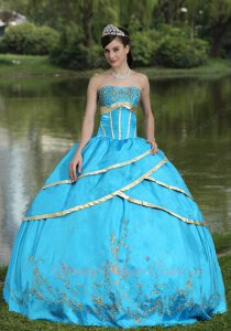 Crossed Aqua Blue Satin Layers With Gold Overlapping/Bordure Quinceanera Ball Gown