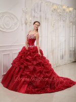 Vogue Wine Red Bubble Train Overlay Quinceanera Court Gown With Spaghetti Straps