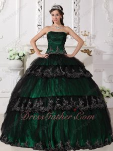 Black Tulle Lacework Layers Skirt Dark Green Lining Quinceanera Ball Gown 2019