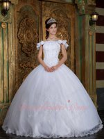 Vogue Pure White Quinceanera Ball Gown Strapless With Flowers Off Shoulder Straps