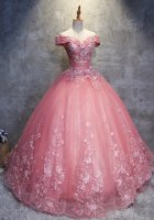 Cameo Rose Mauve Off Shoulder Horsehair Hem Appliques With 3D Flowers Princess Quince