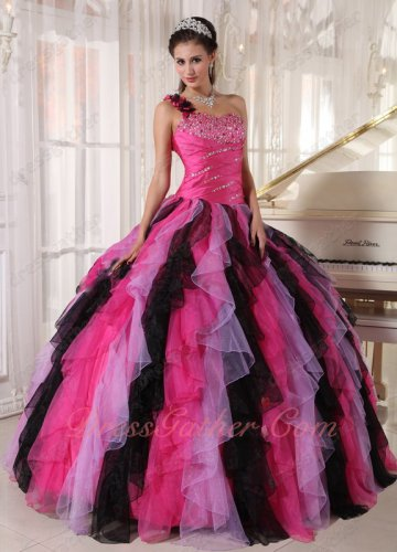 Single Shoulder Contrast 3 Colors Ruffles Hot Pink/Lilac/Black Quinceanera Ball Gown