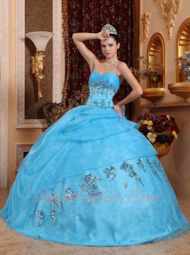 Pretty Aqua Quince Party Gown Clearance Embroidery With Shiny Silver Beading/Crystals