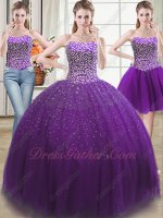 Bright Purple 2019 Fashion Color Three Pieces Detachable Quinceanera Ball Gown