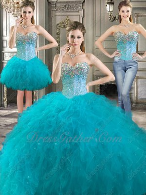 Three Parts Changeable 3 Kinds Wear Dark Turquoise Tulle Waterfalls Quinceanera Gown