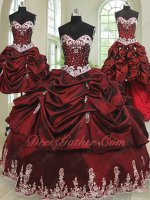 Four Pieces DIY Detachable Burgundy Taffeta Mature Women Quinceanera Gown Customized