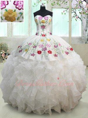 Village Cowboy Colorful Embroidery Pure White Lady Quinceanera Ball Gown Feast