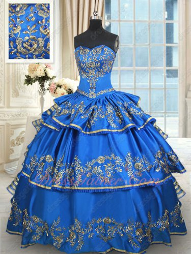 Western Royal Blue Multilayers Skirt Vintage Quinceanera Ball Gown Golden Embroidery