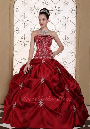Embroidery Wine Red Old Style Western Thick Satin Quinceanera Ball Gown Sale