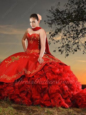 Western Gold Embroidery Court Train Red Organza Bottom Ruffles Quinceanera Gown Eagle