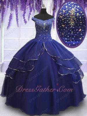 Off Shoulder Bead Curtains Silver Edging Layers Quinceanera Gown Dark Royal Blue