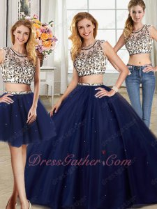 Navy Blue Quinceanera Ball Gown Sweep Train With Three Pieces Detachable Short Skirt