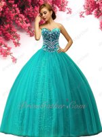 Leisure Girl's 15 Turquoise Quinceanera Gown Embroidery Bodice Sparkling Sequin Lining