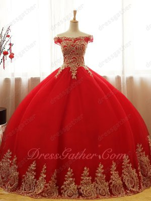 Off Shoulder Red Quinceanera Ball Gown Gold Pineapple Pattern Applique Bodice and Hem