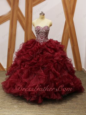 Silver Beading V-Shape Basque Burgundy Organza Dense Ruffles Quince Military Ball Gowns