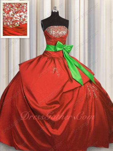 Low Price Puffy Taffeta Quinceanera Sweet 16 Ball Gown Red With Spring Green Bowknot