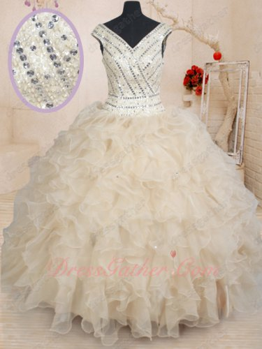 Website Online Safety Champagne Organza Quinceanera Gown Fully Beadwork V-Neck Bodice