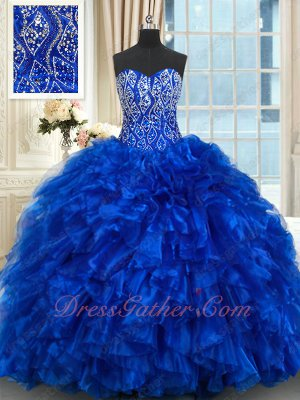 Beading and Ruffles Bright Royal Blue Quinceanera Gown Floor Length Puffy