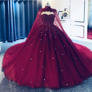 Luxurious Applique Crystals Accented Cathedral Train Quinceanear Ball Gown With Detachable Batman Cloark Cape