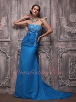 Strapless Azure Blue Chiffon Prom Night Code Evening Dresses With Brush Train