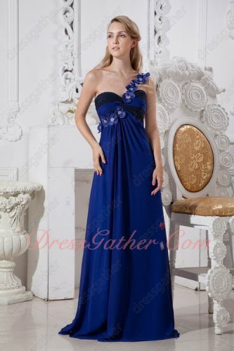 Custom Befitting One Shoulder Royal Blue Floor Length Evening Dress Anniversary