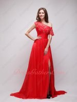 One Off Shoulder High Low Neck Revealed Shoulder Red Chiffon Night Party Dress Princess