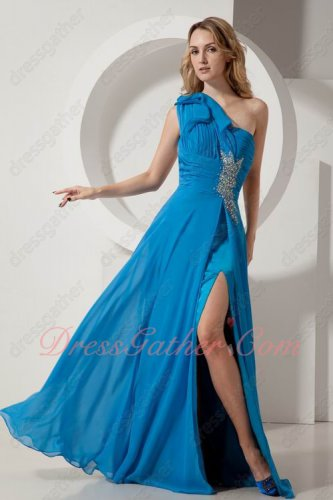 One Shoulder High Slit Lengthen Legs Azure Blue Beaded Formal Dress Up