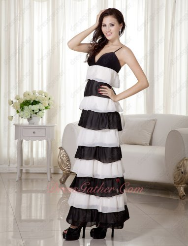 Spaghetti Straps Ombre White and Black Alternant Layers Ankle-length Casual Prom Dress