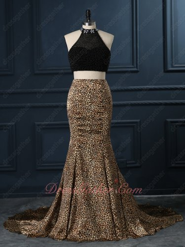 High Collar Exposed Waist Two-Pieces Black Beading Leopard Pattern Mermaid Gown