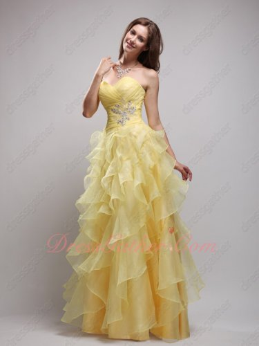 Daffodil Yellow Organza Ruffles Skirt Lovely Formal Evening Dress Princess