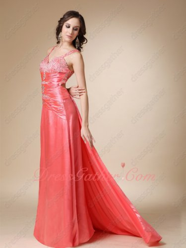 Watermelon Silk Like Satin Right Leg Slit Detachable Fishtail Train Sexy Prom Attire