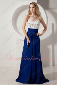 Slender Column Sweep Royal Blue Chiffon School Prom Season Swing Dance Dress Up
