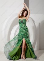 Side Slit Skirt Peafowl/Peacock Tail Pattern Printed Current Cocktail Gowns Attire
