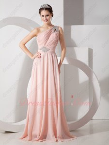 2019 Fashion Color Blush Pink Chiffon Prom Evening Dress One Shoulder Skirt
