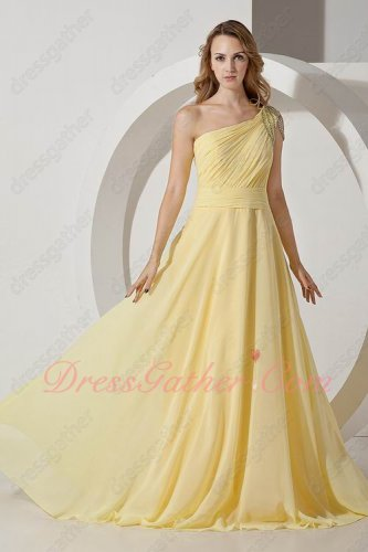 Fairy Daffodil Yellow Prom Compere Dress One Shoulder Strap With Crystals Curtains
