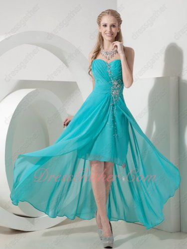 Cheap Turquoise Blue Chiffon Silver Beading High-low Cocktail Fellowship Dress Cute
